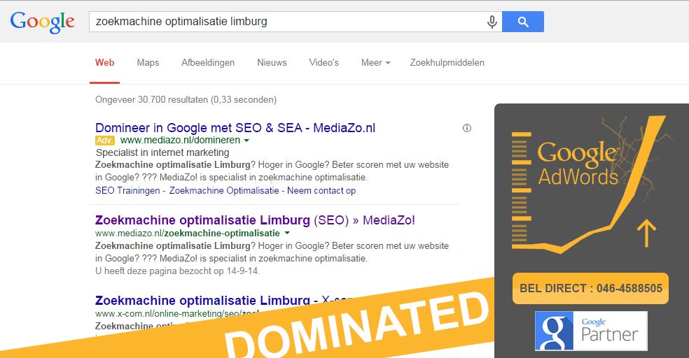 Domineer de zoekresultaten in Google